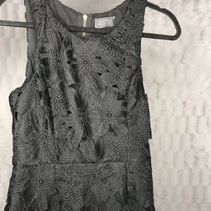 ASTR Black Crochet Floral Lace Sleeveless Dress